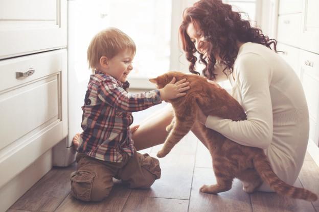 Mutter mit Kind und Katze