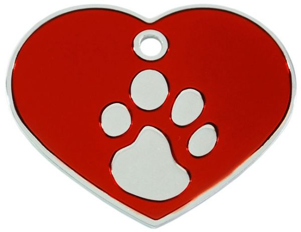 Hundemarke groß Herz 925 silber-plated