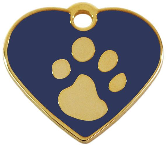 Hundemarke klein Herz 24t gold-plated